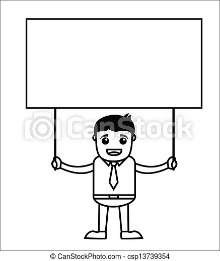 clipart vector of businessman holding banner   drawing art
