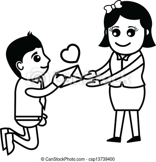 Vector Clipart of Boyfriend Proposing Girlfriend - Proposing ...