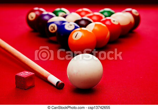 Billiards pool game. Cue ball, cue color balls in triangle, chalk