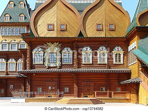 kolomenskoe palace wood building landmark in Moskow - csp13744582