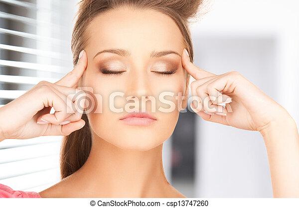 beautiful pensive woman - csp13747260