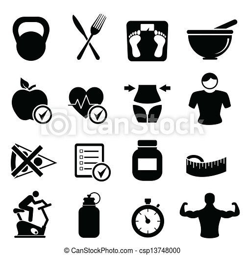 Clip Art Vector of Health, fitness and diet icons - Health ...