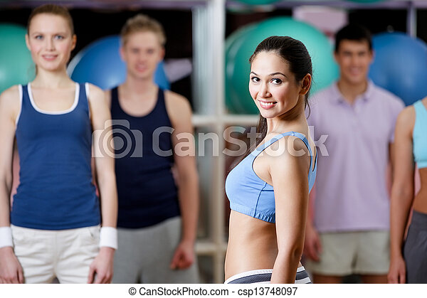 Group of people at the training gym - csp13748097
