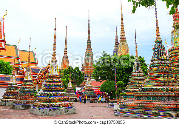 History of Wat Pho. Wat Pho Wat Pho, or the government's behalf. Temple of the Reclining Buddha. A monastery and is one measure of the reign of the Chakri Dynasty, formerly known as the oldest templ - csp13750055