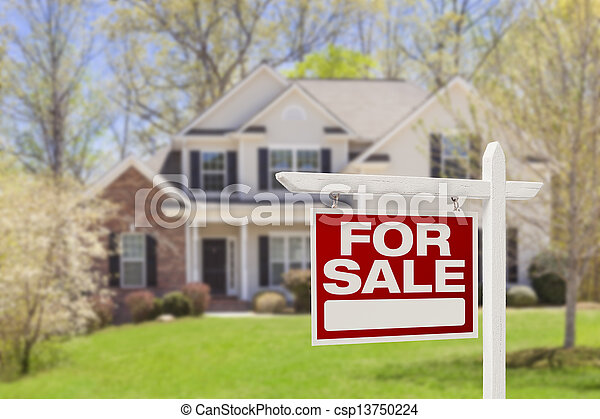 Home For Sale Real Estate Sign and House - csp13750224