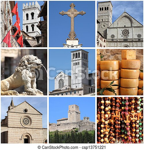 Assisi landmarks collage - csp13751221