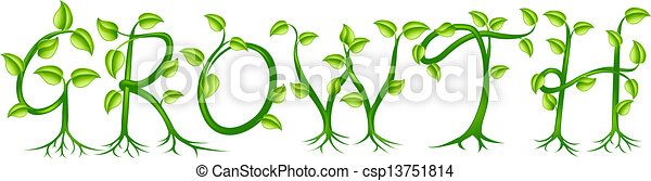Vector Clip Art Of Growth Plant Typography Concept Growth Spelt Out By Trees Csp13751814