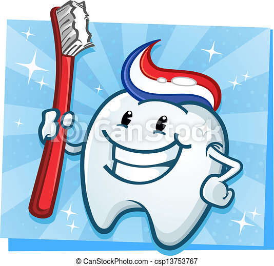 Clip Art Vector of Dental Tooth Cartoon Character - A ...