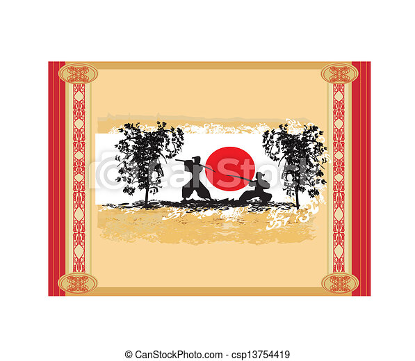 old paper with  silhouette Samurai - csp13754419