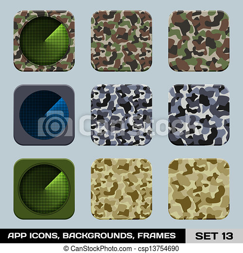Set Of App Icon Backgrounds, Frames, Templates. Set 14. War Game, Military Style. Vector - csp13754690