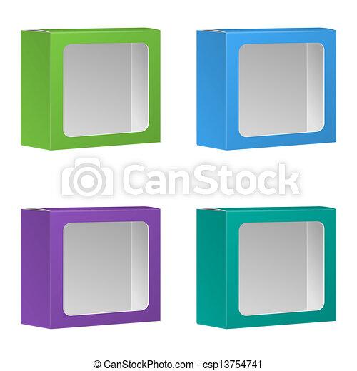 Eps vektor von leer produkt paket kasten mit fenster for Fenster 800x800