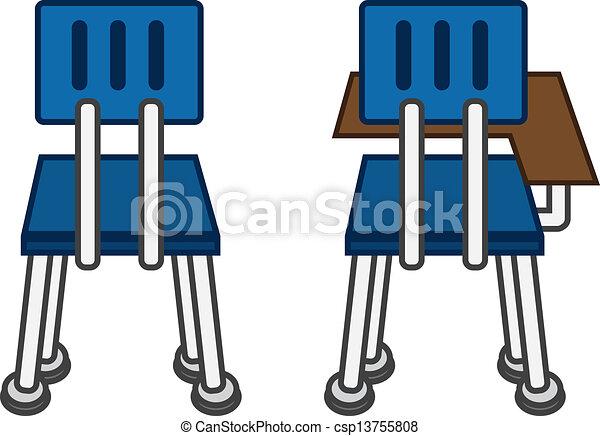 Clipart vecteur de classe chaise dos dos de classe for Chaise dos droit