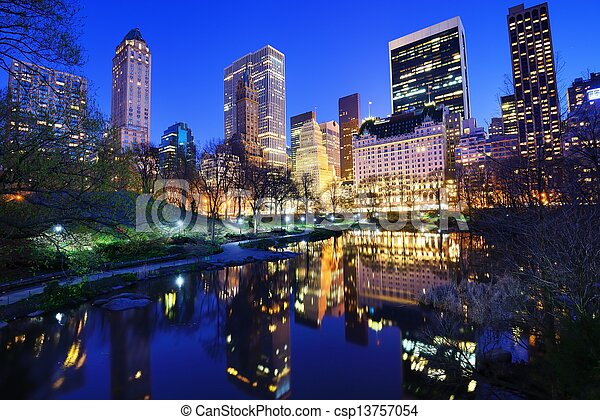Central Park at Night - csp13757054