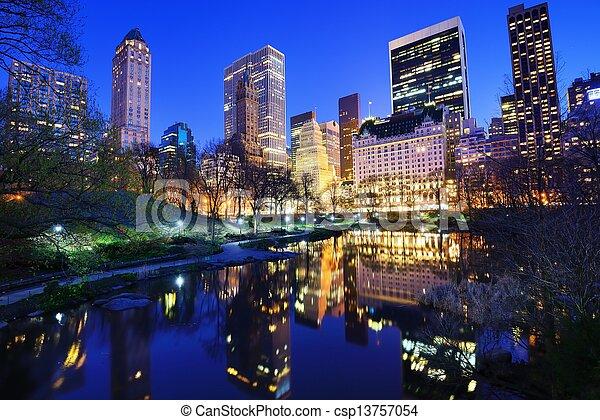 Central Park at Night - csp13757054