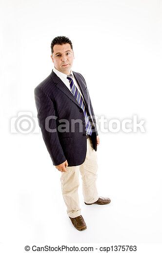 full pose of handsome businessman in suit - csp1375763