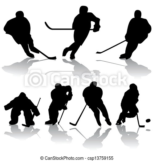 Clipart Vector of ice hockey players - vector set of ice hockey ...