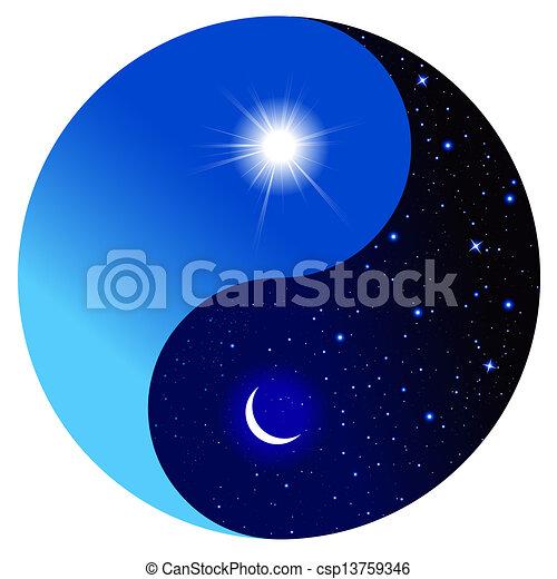 vecteur eps de symbole yin yang jour nuit jour et nuit dans les csp13759346. Black Bedroom Furniture Sets. Home Design Ideas