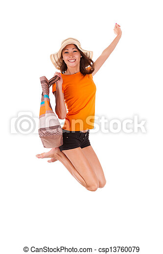 Young beautiful asian woman jumping of joy - Asian people - csp13760079