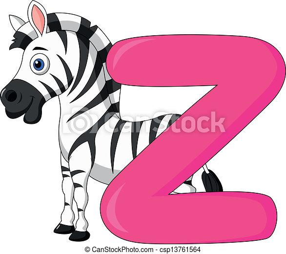 Z Alphabet Images Alphabet Z with zebra cartoon - csp13761564
