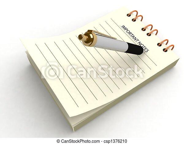 pen writing on notepad - csp1376210