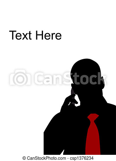 man talking on cell phone - csp1376234