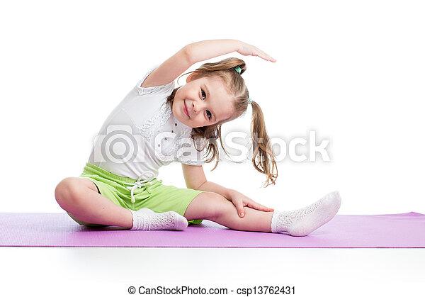 Kid doing fitness exercises - csp13762431