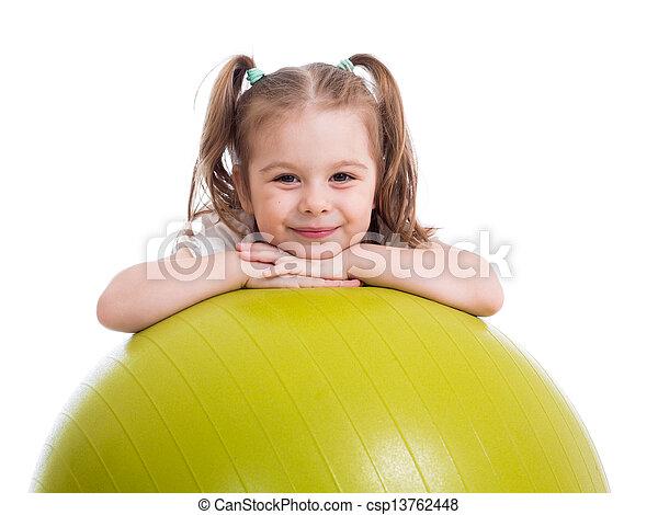 ボール, 体操, 隔離された, 子供, 楽しみ, 女の子, 持つこと - csp13762448