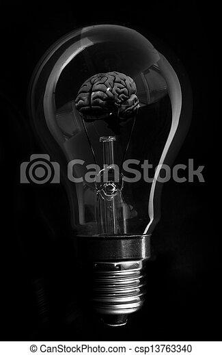 Black brain inside light bulb - csp13763340