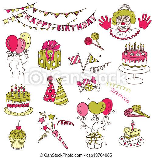 Scrapbook Design Elements - Birthday Party Set - in vector - csp13764085