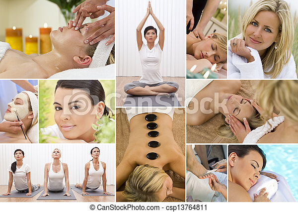 Montage Women Relaxing at Health Spa  - csp13764811