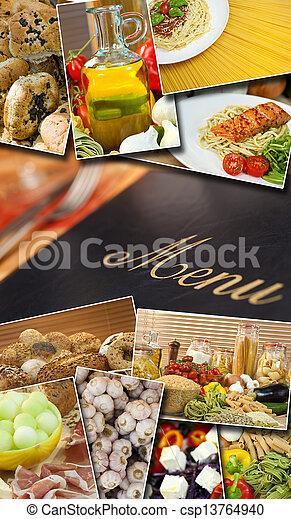 Mediterranean Healthy Food & Menu Montage - csp13764940