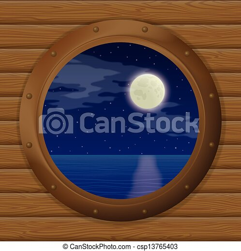 Clipart vecteur de fen tre bateau mer nuit nuit mer for Fenetre hublot