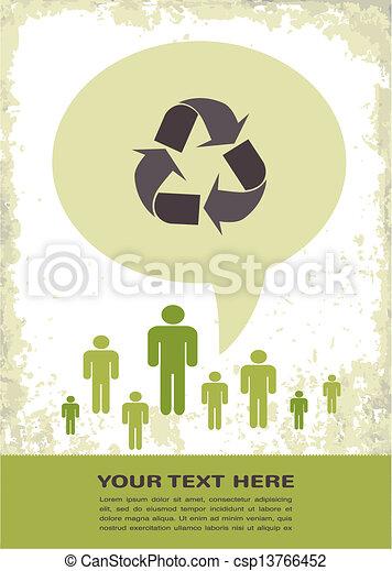retro recycling eco poster - csp13766452