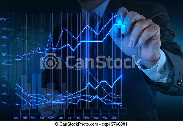 businessman hand working with new modern computer and business strategy as concept - csp13766881
