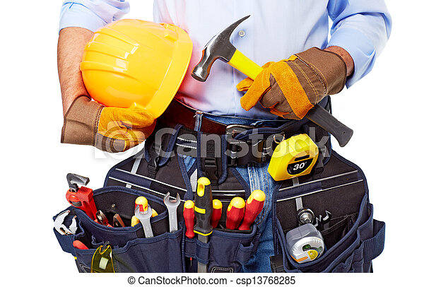 Worker with a tool belt. Construction. - csp13768285