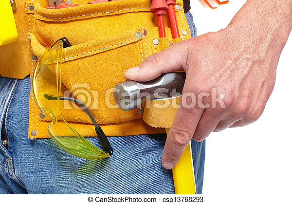 Hand with a Tool belt. Renovation. - csp13768293
