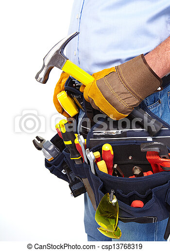 Worker with a tool belt. Construction. - csp13768319
