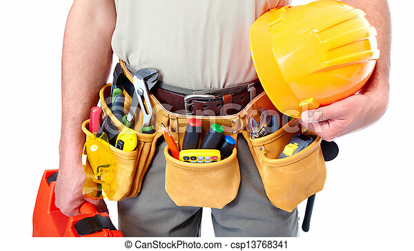Worker with a tool belt. - csp13768341