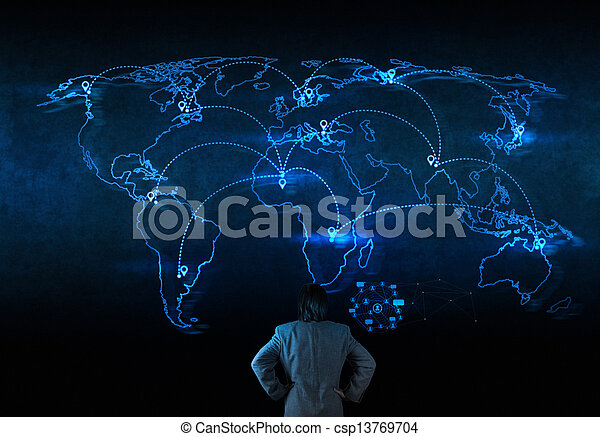 businessman working with new modern computer show social network structure - csp13769704