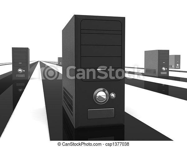 illustration de unit centrale traitement raies devant. Black Bedroom Furniture Sets. Home Design Ideas