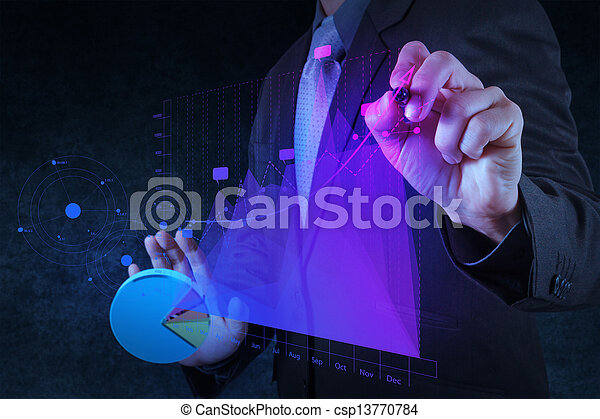 businessman hand drawing virtual chart business on touch screen computer as concept - csp13770784