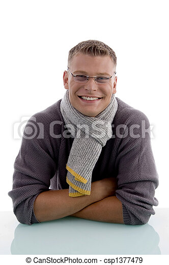 portrait of handsome young man with eyewear - csp1377479