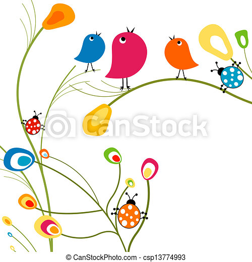 birds and ladybugs - csp13774993