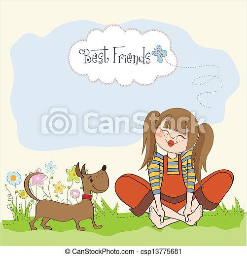 Her cute dog stock illustration royalty free illustrations stock