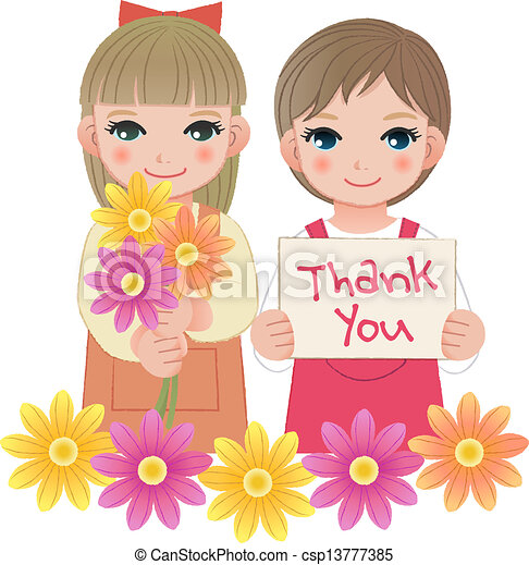 Vector of Little girls holding thank you sign - Young ...