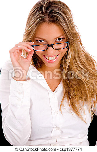 front view of young woman holding eyewear - csp1377774