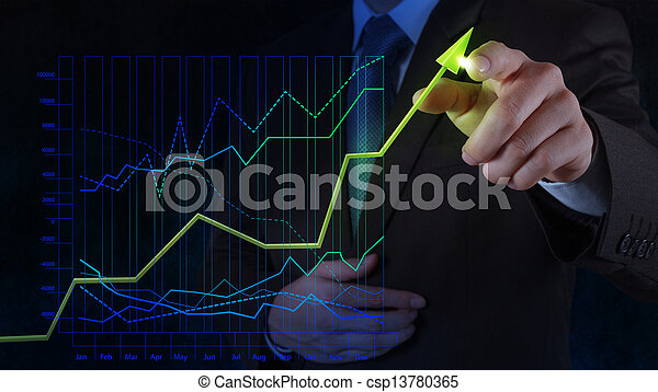 businessman hand drawing virtual chart business on touch screen computer as concept - csp13780365