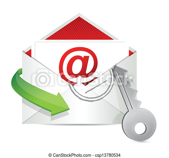 Envelope mail with key - security concept - csp13780534