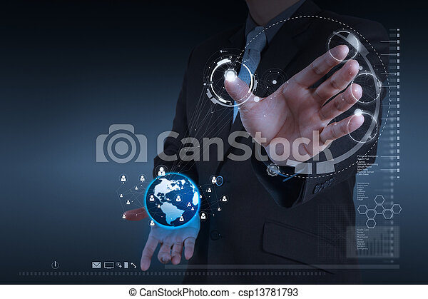 businessman hand working with new modern computer show social network structure as concept - csp13781793