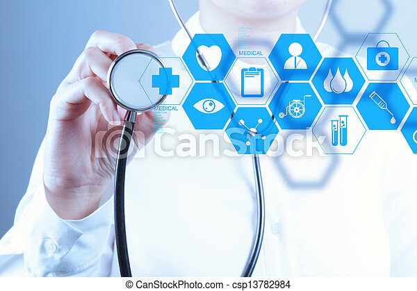 Medicine doctor hand working with modern computer interface - csp13782984